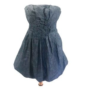 Love Culture Strapless bubble bottom Denim Dress L